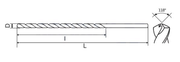 Prailginti DIN340 HSS grąžtai metalui